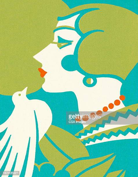 Art Deco Woman With Bird