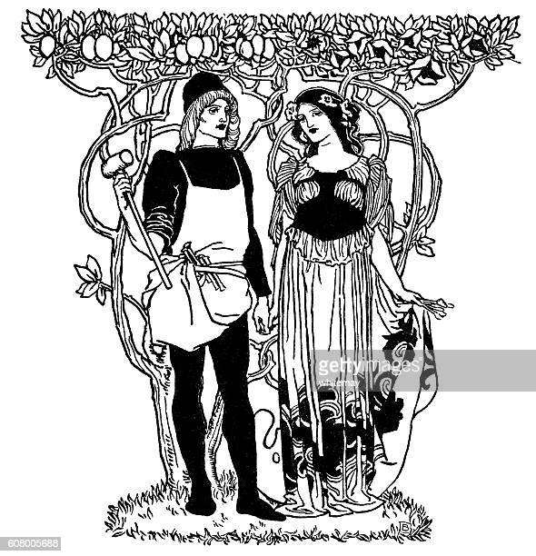 art nouveau man and woman standing under trees - art nouveau stock illustrations, clip art, cartoons, & icons