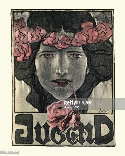 illustrazioni stock, clip art, cartoni animati e icone di tendenza di ritratto art nouveau di donna che tiene in bocca rosa, gioventù, tedesco - pittura accademica