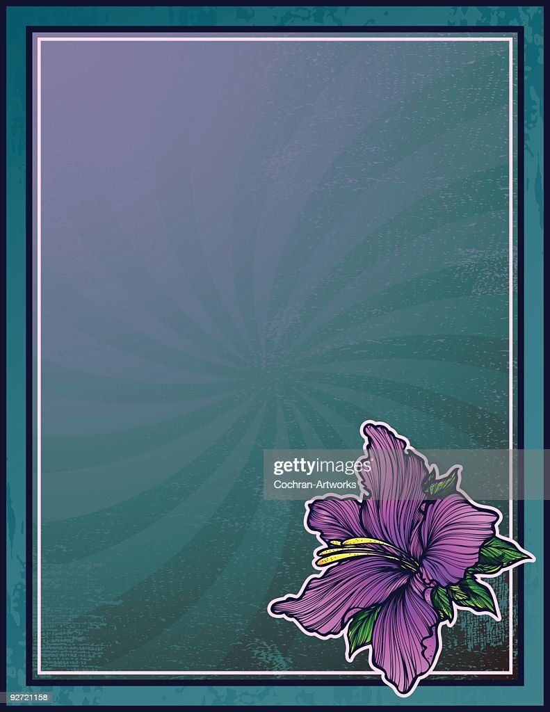 Art Nouveau Style Azalea in a Grunge Frame