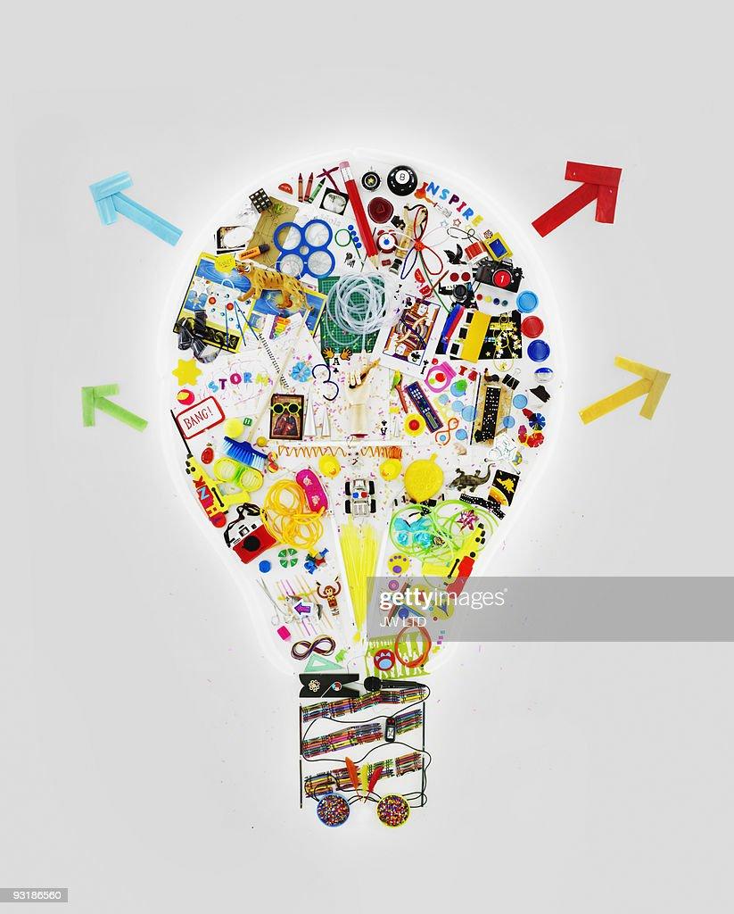 Art objects in shape of light bulb : Stock Illustration