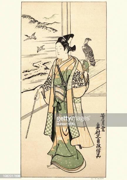 art of japan, actor with hawk, by okumura massanobu - falconry stock illustrations