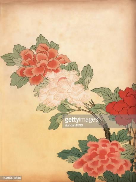 illustrations, cliparts, dessins animés et icônes de art du japon, fleurs de chrysanthème - estampe japonaise