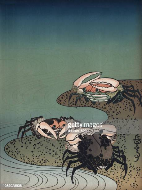 art of japan, crabs on a beach - japanese art stock illustrations