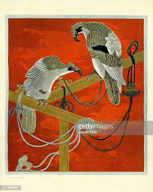 art of japan - embroidered fukusa - falconry stock illustrations