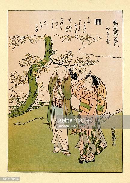 illustrations, cliparts, dessins animés et icônes de les amateurs d'art du japon en koryusai - estampe japonaise