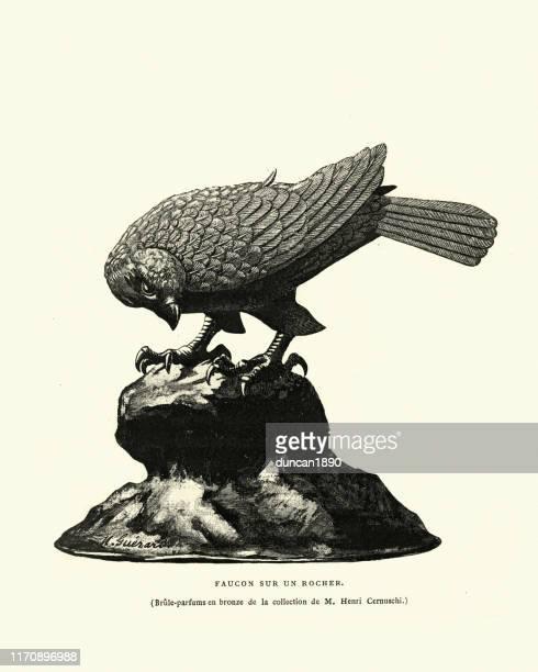 ilustrações de stock, clip art, desenhos animados e ícones de art of japan, sculpture, falcon on a rock - falcon bird