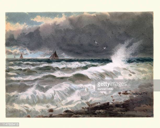 art, study of sea on the french coast, 19th century - graphic print stock illustrations