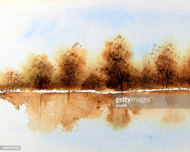 Art: Watercolor scene of brown autumn trees reflected in water