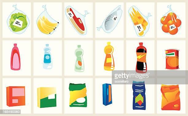 ilustrações, clipart, desenhos animados e ícones de artigos de supermercado - labeling