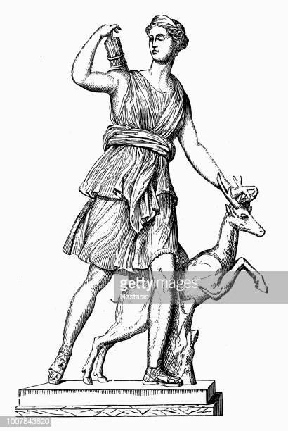 artemis (diana), greek goddess of the hunt - goddess stock illustrations, clip art, cartoons, & icons