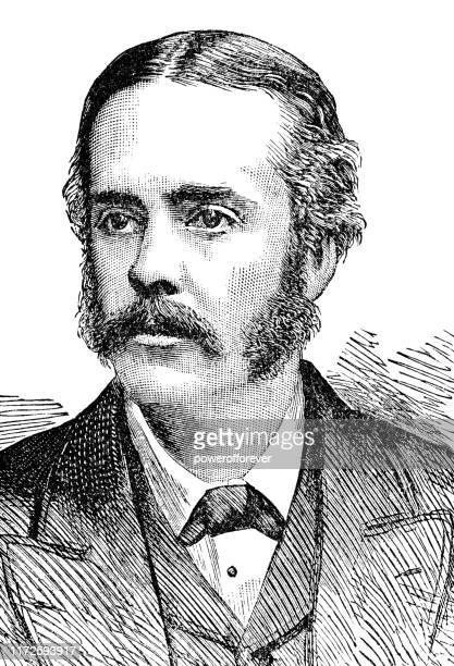 arthur balfour, 1st earl of balfour - 19th century - sideburn stock illustrations
