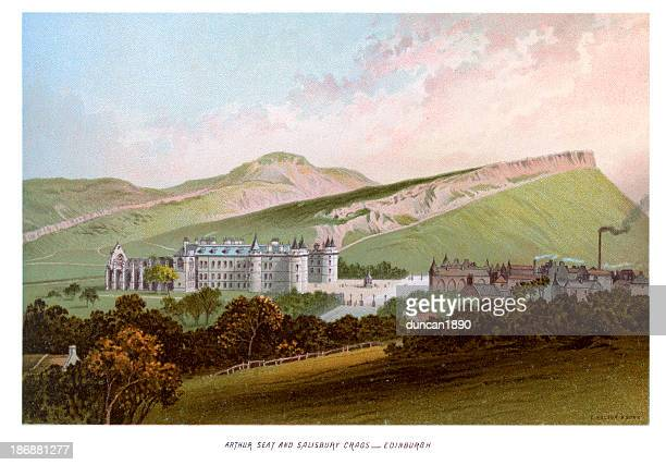 arthur seat and salisbury crags edinburgh - crag stock illustrations, clip art, cartoons, & icons