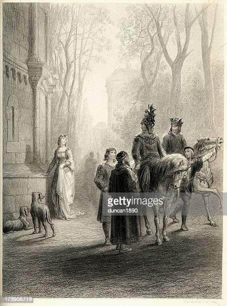 Arthurian legend Sir Lancelot bids adieu to Elaine