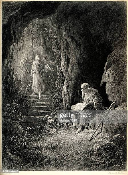 arthurian legend the cave scene - wizard stock illustrations, clip art, cartoons, & icons