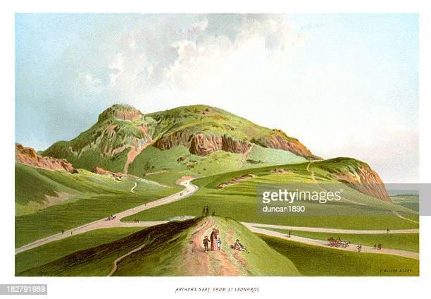 arthur's seat from st leonards - hill stock illustrations, clip art, cartoons, & icons