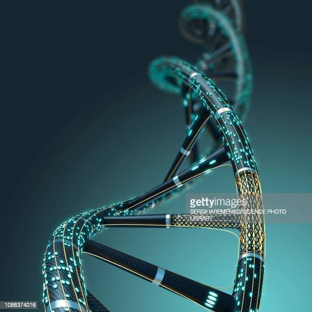 artificial dna molecule, illustration - dna stock illustrations