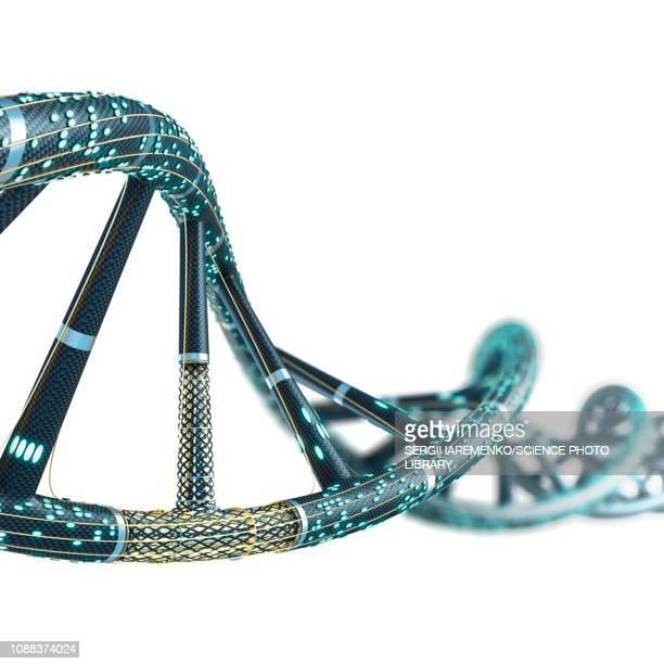 artificial dna molecule, illustration - helix stock-grafiken, -clipart, -cartoons und -symbole