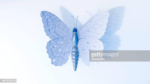 artificial technical butterfly, 3d rendering - development stock illustrations