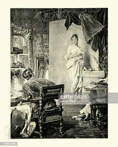 artist and model, by gustav kuntz, victorian, 19th century - mannequin stock illustrations, clip art, cartoons, & icons