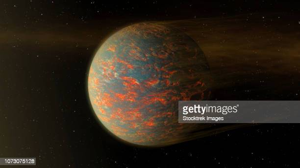 Artist concept of exoplanet 55 Cancri e and its molten surface showing material blowing of from nearby star.