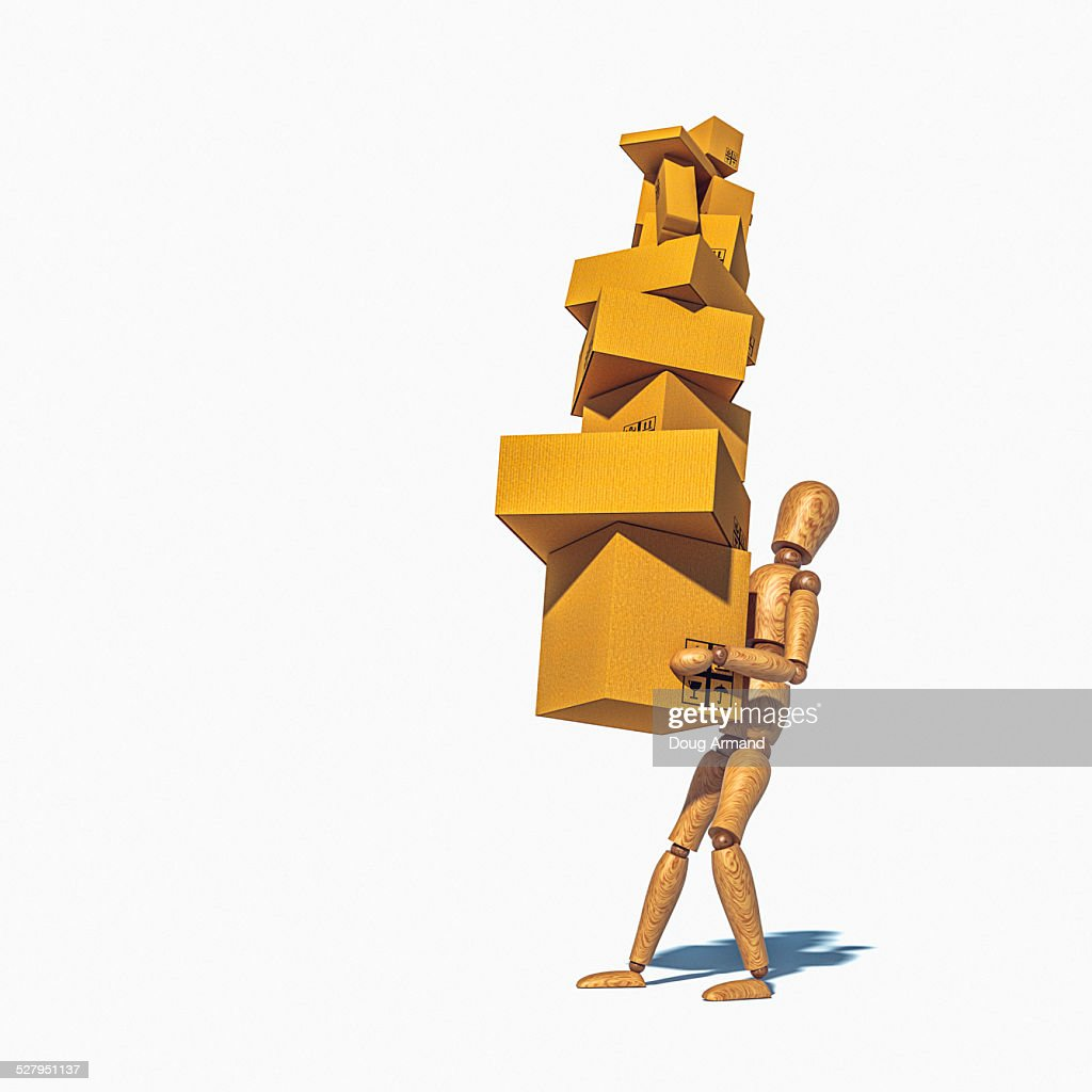Artist mannequin overloaded carrying boxes : stock illustration