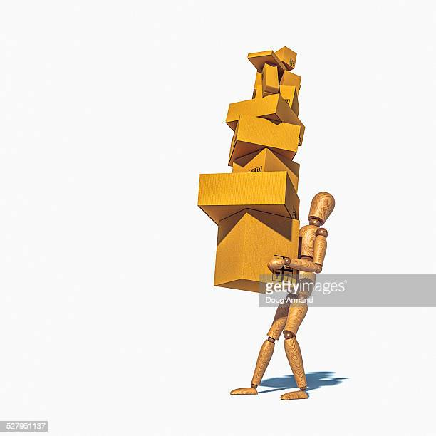 artist mannequin overloaded carrying boxes - stack stock illustrations