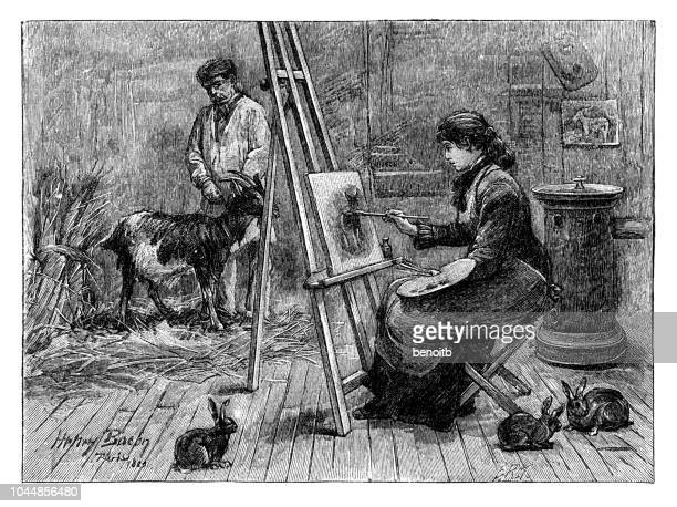 artist painting scene with goat and farmer - living organism stock illustrations, clip art, cartoons, & icons