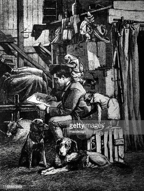 artist paints a portrait surrounded by dogs and monkeys - 1887 stock illustrations, clip art, cartoons, & icons