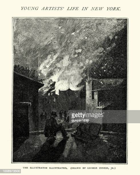 artist sketching a house fire,  new york,  19th century - fire natural phenomenon stock illustrations