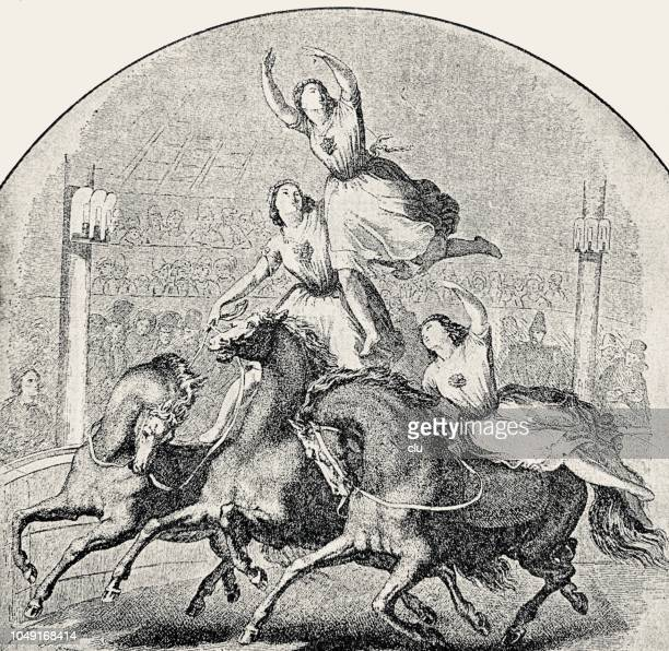 artistic performance:  women dancing on horses - heterosexual couple stock illustrations, clip art, cartoons, & icons