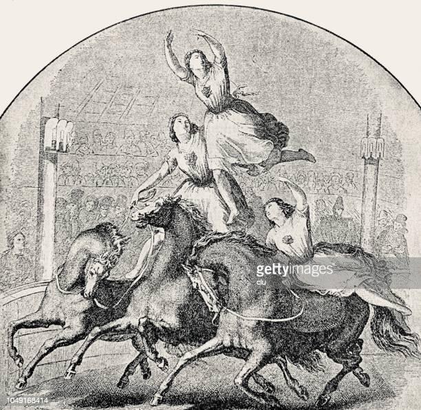 芸術的なパフォーマンス: 馬に踊る女性