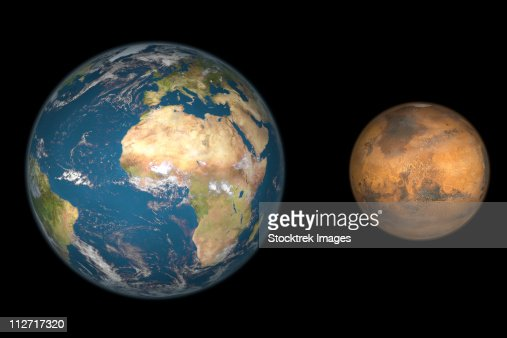 Artists Concept Comparing The Size Of Mars With That Of