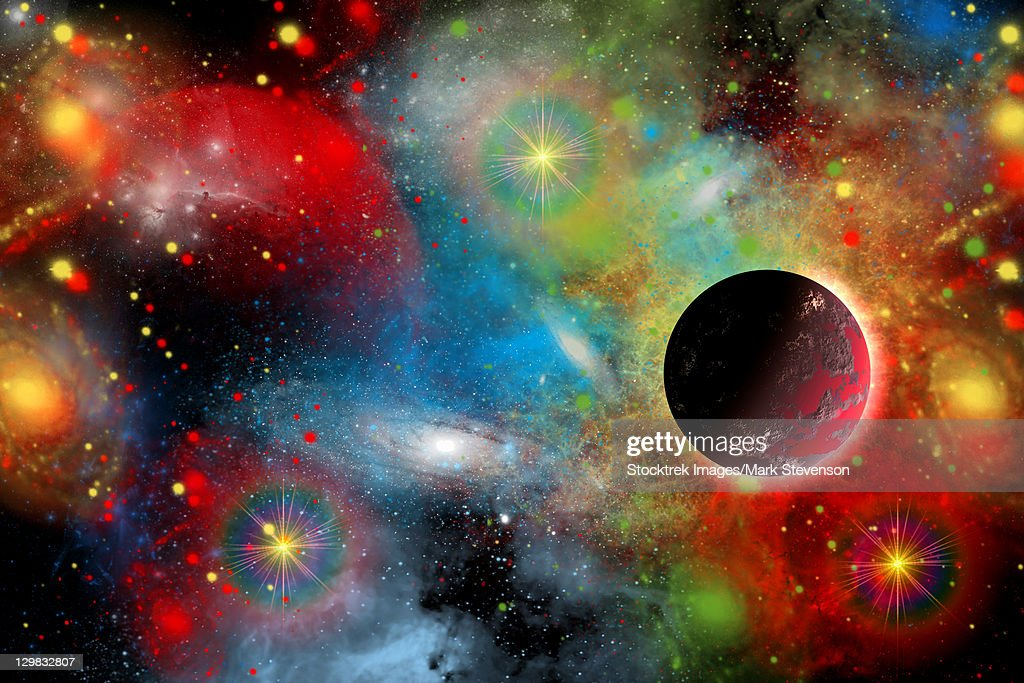 Artist's concept illustrating what a beautiful, colorful place our cosmic universe truly is. : stock illustration
