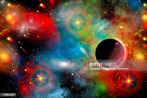 Artist's concept illustrating what a beautiful, colorful place our cosmic universe truly is.