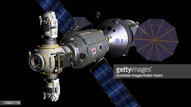 Artist's concept of a Deep Space Vehicle with Extended Stay Module and Manned Maneuvering Vehicles port bow view.