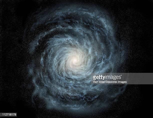 ilustraciones, imágenes clip art, dibujos animados e iconos de stock de artist's concept of a face-on view of our galaxy, the milky way. - galaxiaespiral