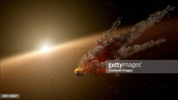 Artists concept of a large collision of astronomical objects.