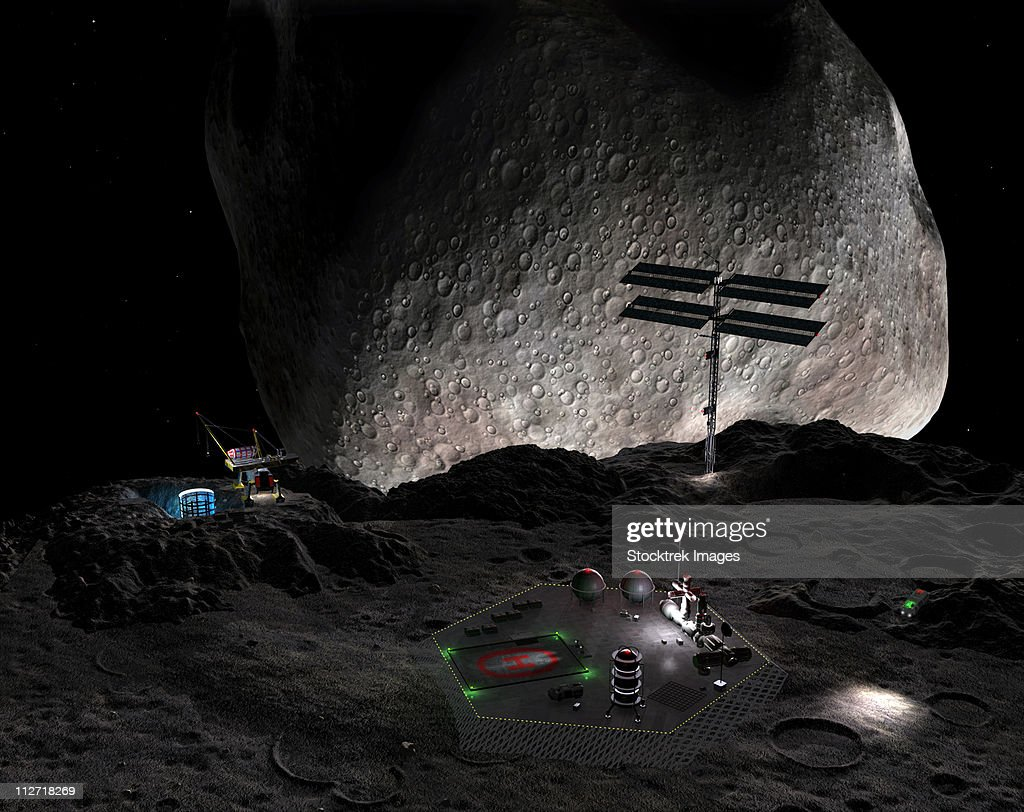 Artist's concept of a mining settlement on the double asteroid 90 Antiope. : stock illustration