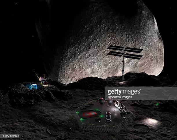 Artist's concept of a mining settlement on the double asteroid 90 Antiope.