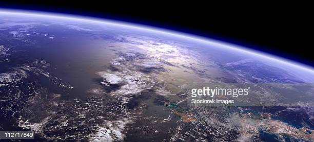 artist's concept of a terrestrial planet with a big reflection on the ocean. the goal was to reach as much realism as possible. - satellite view stock illustrations