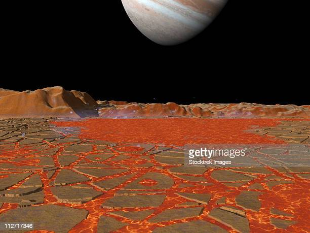 artist's concept of a view across a pool of lava on the surface of io, towards jupiter. - volcanic crater stock illustrations, clip art, cartoons, & icons