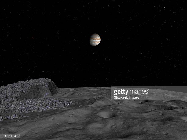 artist's concept of a view across the surface of themisto towards jupiter and its moons. - エウロパ点のイラスト素材/クリップアート素材/マンガ素材/アイコン素材
