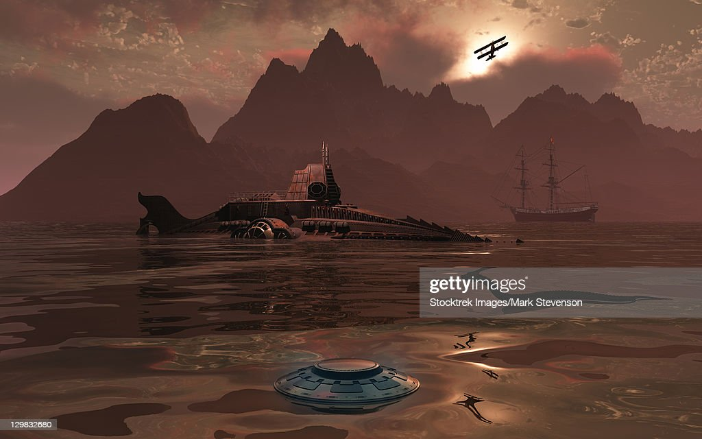 Artist's concept of an ancient civilization with advanced technology. : Ilustración de stock