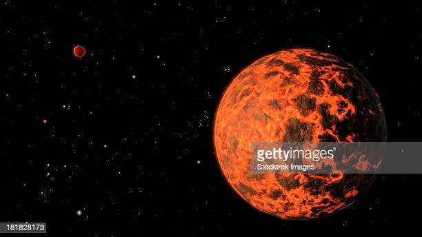 artist's concept of an exoplanet known as ucf-1.01, orbiting a star called gj 436. - lava stock illustrations