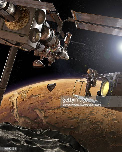 Artist's concept of an orbital outpost above Phobos, the nearest of Mars' moons.