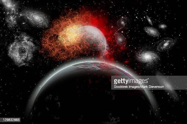 ilustraciones, imágenes clip art, dibujos animados e iconos de stock de artist's concept of cosmic contrast in the night sky. - galaxiaespiral