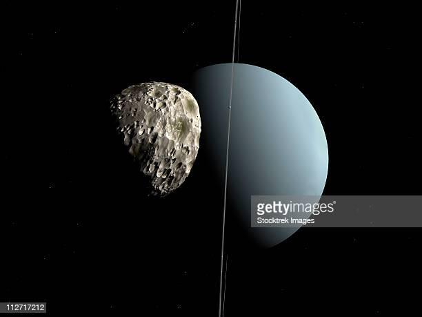 artist's concept of how uranus and its tiny moon puck. - uranus stock illustrations