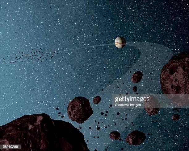 Artists concept of Jovian Trojans asteroids.