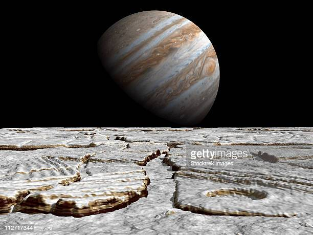 artist's concept of jupiter as seen across the icy surface of its moon europa. - エウロパ点のイラスト素材/クリップアート素材/マンガ素材/アイコン素材